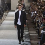 At Milan Fashion Week Autumn-Winter 2013-2014 in man in black Calvin Klein Collection